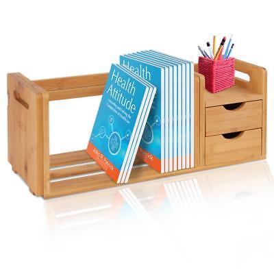 Natural Bamboo Bookshelf Desktop Shelf Organizer Unit With Drawers Adjustable