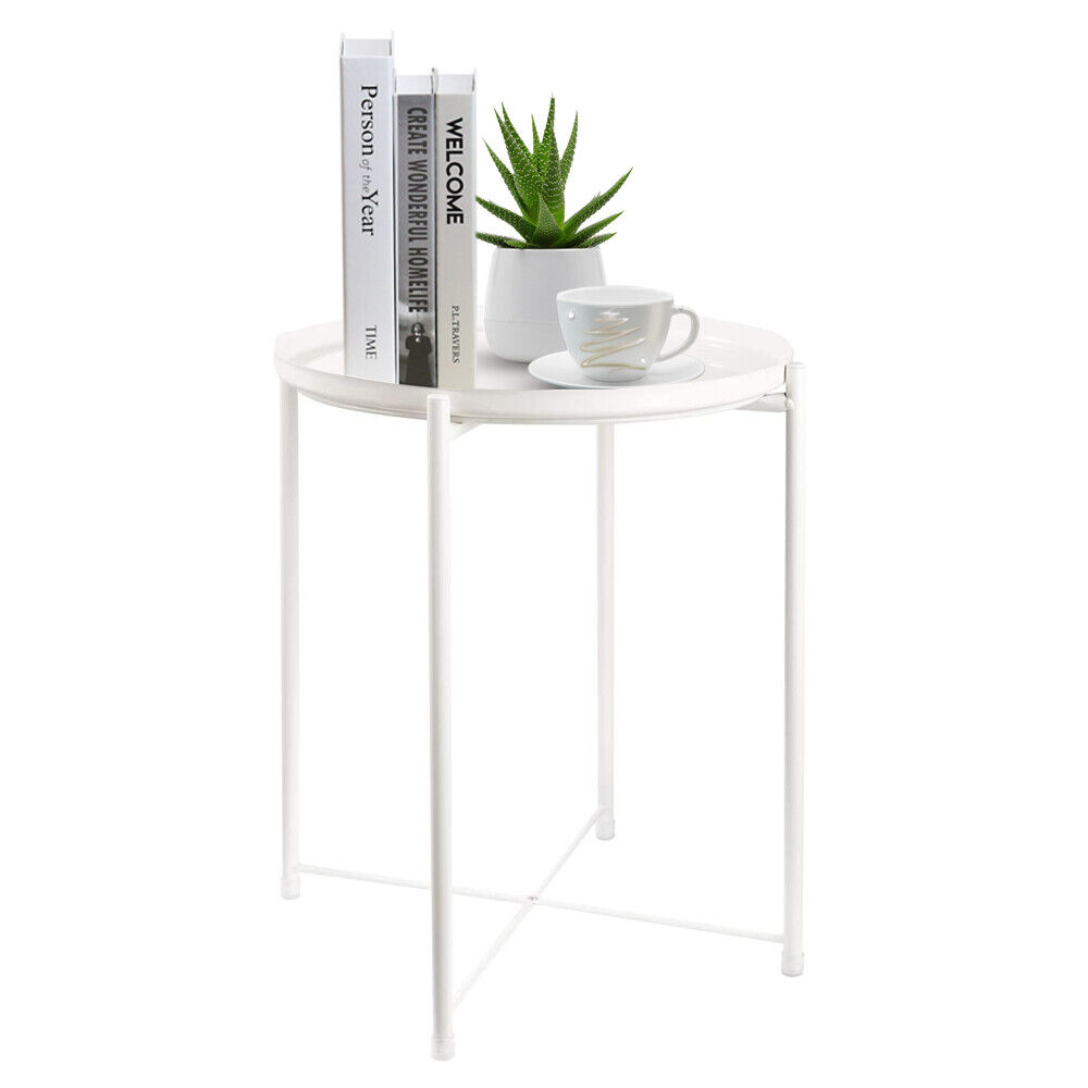 White Small Round End Side Coffee Table Bedroom Living Room Bedroom Storage