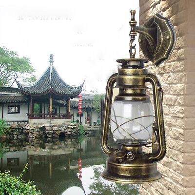Antique Exterior Wall Light Fixture Bronze Glass Lantern Outdoor Garden Lamp E27 Antique Brown Wall Light