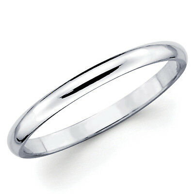10K Solid White Gold 2mm Plain Men's and Women's Wedding Band -