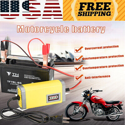 US Car Motorcycle Battery Charger 12V 2A Full Automatic 3 Stages Lead Acid GEL