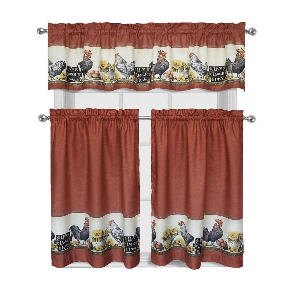 3 Piece Rooster Window Treatment Kitchen Curtain Tier & Vala