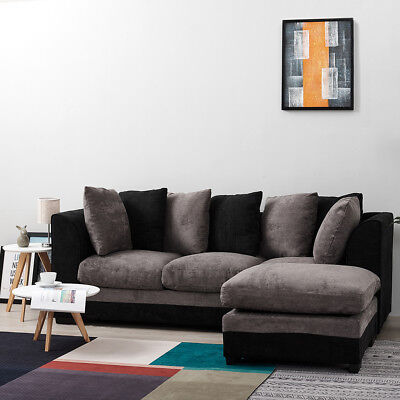 Panana Sofa 3 SEATER FABRIC SOFA SETTEE COUCH CORNER FOOTSTOOL 2 COLORS