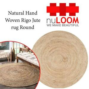 NEW nuLOOM Natural Hand Woven Rigo Jute rug Round, 6 Condtion: New, 6