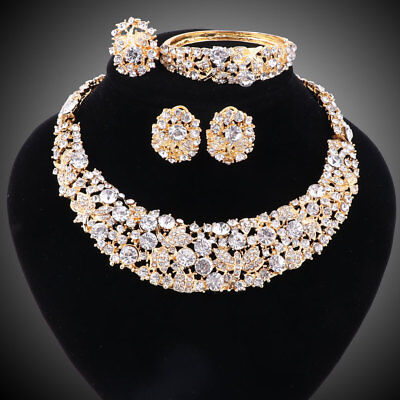 Beaded Set Jewelry Set - Women Party Bridal Dinner Dress Rhinestone Necklace African Beads Jewelry Sets