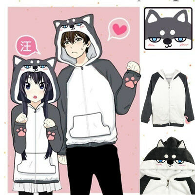 Anime Cute Huskie Couple Jacket  Hoodie Costume Zipper Cosplay Coral Fleece