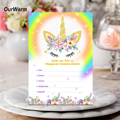 Unicorn Birthday Card - 10PCS Girls Unicorn Invitations Card with Envelopes Kids Birthday Party Supplies