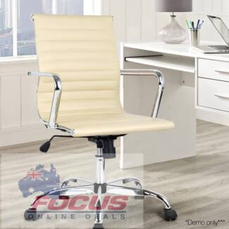 Replica Eames PU Leather Low Back Office Chair - Beige
