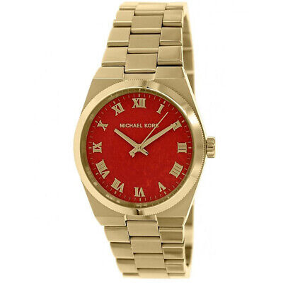New Michael Kors MK5936 Women's Channings Coral Dial Gold 38mm Case Watch