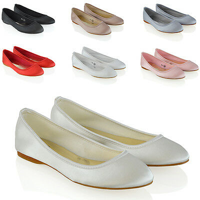 New Womens Bridal Shoes Satin Flower Girl Ladies Wedding Prom Pumps Size 3-9 (Flower Girl Satin Shoes)