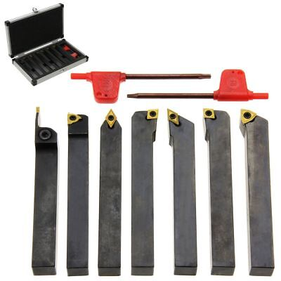 "Carbide Indexable Turning Tool 1/2"" 7 pc Lathe Tool Bit Set Thread Insert+Holder"