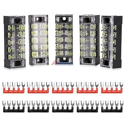 5pcs 600v 15a Dual Rows 5 Position Screw Connector Barrier Terminal Block Strip