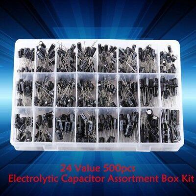 24 Values 500pcs Electrolytic Capacitor Assortment Box Kit 0.1uf-1000uf Gl