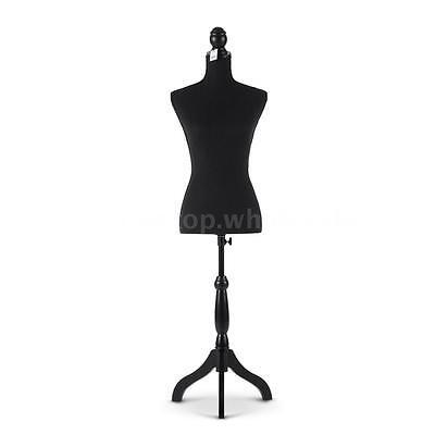 Adjustable Female Mannequin Torso Dress Cloth Form Tripod Standing Black New