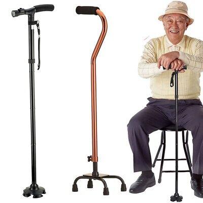Quad Cane Small Base Walking Aid Medical Mobility Adjustable Walking Cane Walker ()