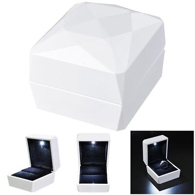 Plastic Engagement Ring (Luxury Jewelry Ring Box Holder with LED Light Wedding Proposal Engagement)