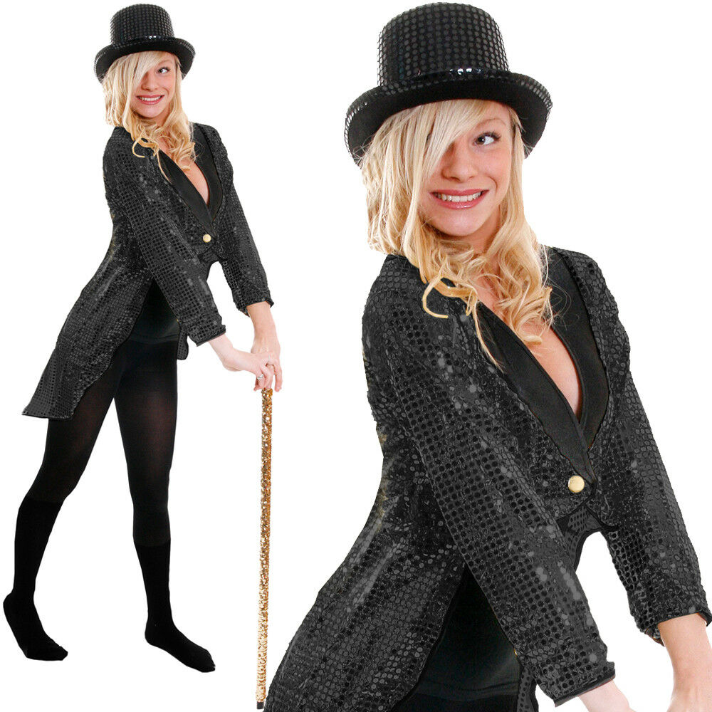 BLACK SEQUIN TAILCOAT UNISEX CABARET FANCY DRESS CIRCUS RINGMASTER DANCE COSTUME