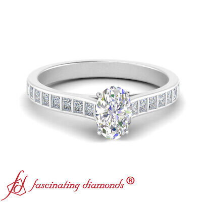 Platinum 0.75 Ctw Oval Shaped FLAWLESS Diamond Princess Accented Engagement Ring