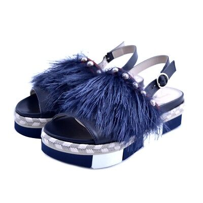 Sandals Shoes Jeannot Woman Leather Fabric Midnight Blue Pearls Wedge Rubber