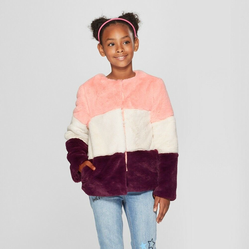 Cat & Jack Girls' Coat Faux Fur Jacket – Pink, White, Purple – Size Small – NEW Clothing, Shoes & Accessories