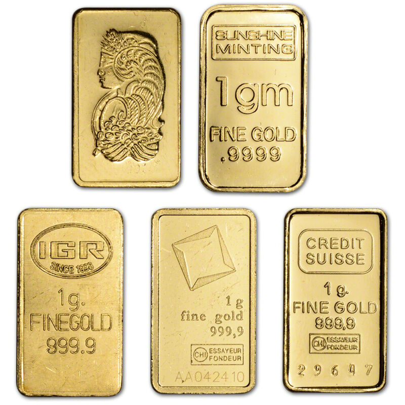 1 gram Gold Bar - Random Brand - Secondary Market - 999.9 Fine