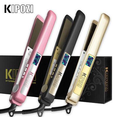 KIPOZI Salon Hair Straightener 1 Inch Plate Titanium Flat Iron Digital Display