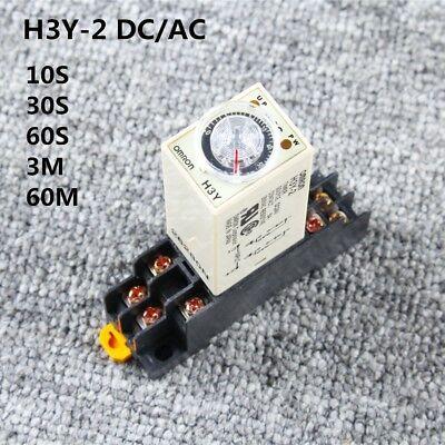 H3y-2 Ac 110v Dc12v 24v Delay Timer Time Relay 10sec-60min Base