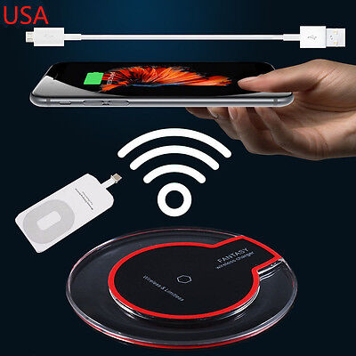 Iphone 5 Charger - Qi Wireless Fast Charger Dock Charging Pad+Receiver for Apple iPhone 5/6/7/Plus