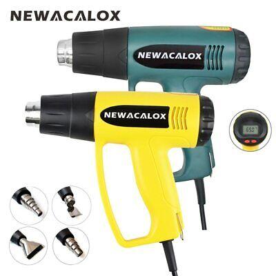 Newacalox 2000w Hot Air Heat Gun Digital Lcd Screen Temp Control 220v 4 Nozzles