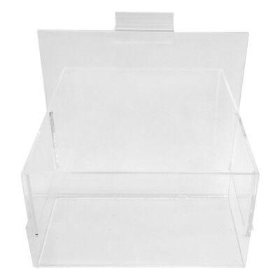 7 Inch x 4 Inch x 7 Inch Crystal Clear Acrylic Lucite Slatwall Bin Holder