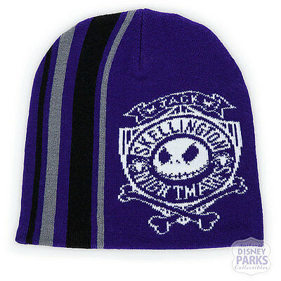 Disney Parks Jack Skellington Knit Beanie Hat for Adults Purple - Disney Hats For Adults