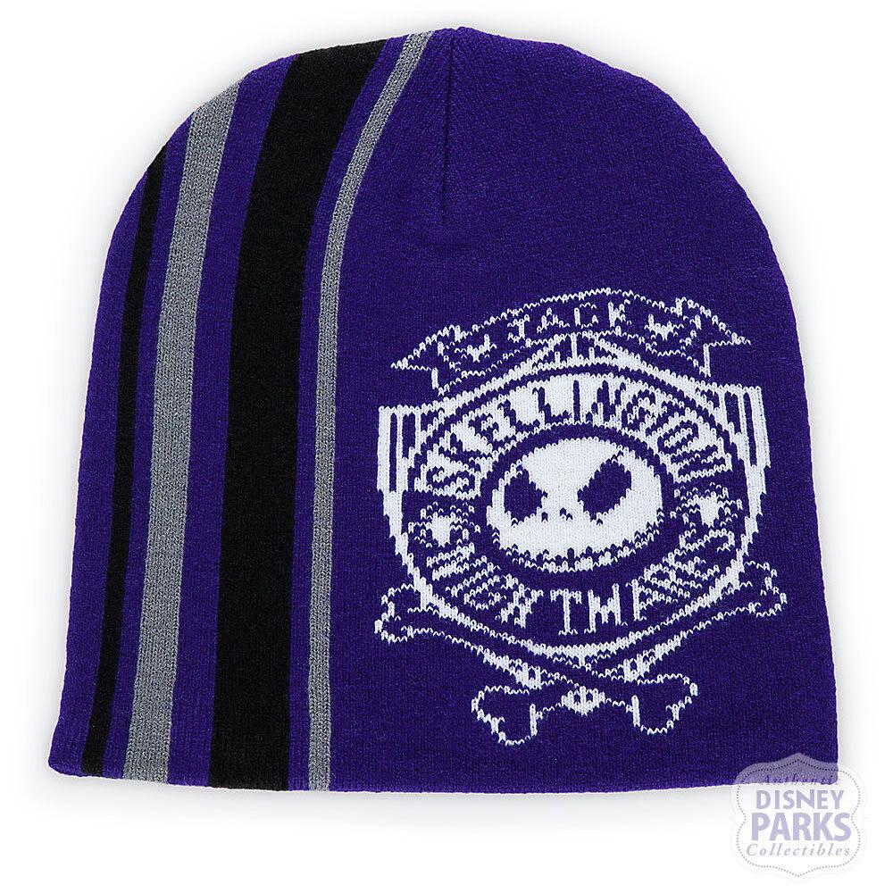 Disney Parks Jack Skellington Knit Beanie Hat for Adults Pur