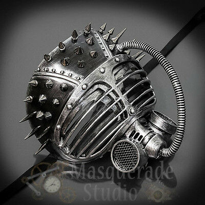 Mens Steampunk Gas Mask Halloween Costume Theater Masquerade Mask [Silver] - Gas Mask Halloween Costumes