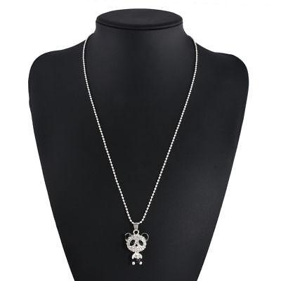 Womens Girls Silver Panda Rhinestone Pendant Necklace Jewelry