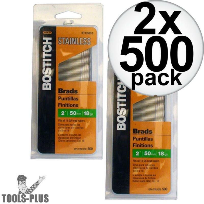 "Bostitch BT1350SS 500 Pack 2"" 18 GA Stainless Steel Brad Nails 2x New"