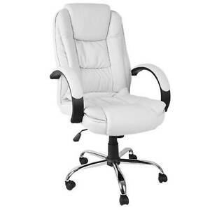 Executive PU Leather Office Computer Chair White North Melbourne Melbourne City Preview