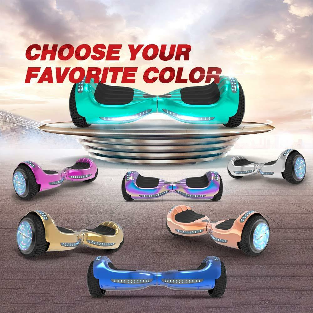 6.5'' Hoverboard with Bluetooth, Led Flash Sheel, Chrome Des