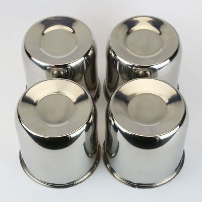 (4 Chrome Steel Center Caps Push Thru For Trailer wheel rims 4.25