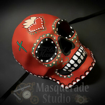Day of the Dead Full Face Skull Infernal Heart Halloween Masquerade Mask (Day Of The Dead Halloween Faces)