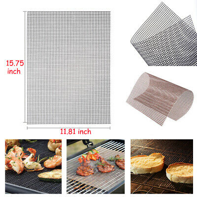 UK Reusable BBQ Grill Pad Teflon Non-stick Mesh Net Barbecue Grilling Baking Mat
