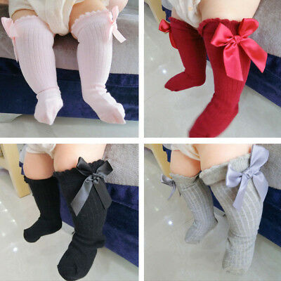 US New Kids Toddlers Girls Big Bow Knee High Long Soft Cotton Lace Baby Socks
