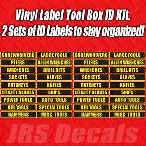 Tool Box Label Vinyl Decal 36 Adhesive Labels Drawer organizer
