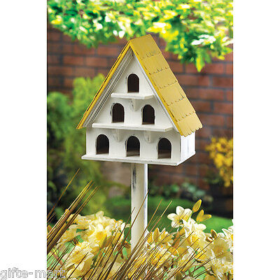 "shabby white Multi Bird Marlin condo many hole wooden house birdhouse & 28"" Pole"