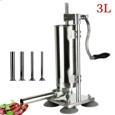3l Vertical Manual Sausage Stuffer Machine Sausage Maker Filler Meat Press Tools