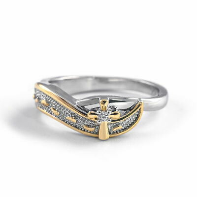 Fashion Women Jewelry Two Tone 925 Silver Ring Cubic Zirconia Finger Ring Size 8