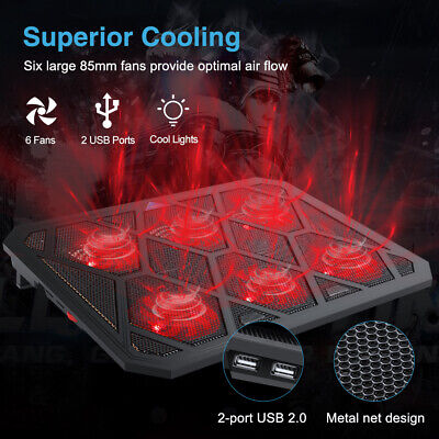 """6 Powerful Fans Laptop Cooler Cooling Mat Pad Stand Fit for Gaming 12"""" - 19"""" UK"""