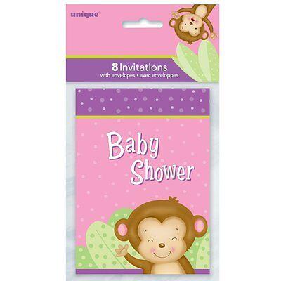 BABY GIRL MONKEY INVITATIONS (8) ~ Shower Party Supplies Stationery Invites Card (Monkey Invitations)
