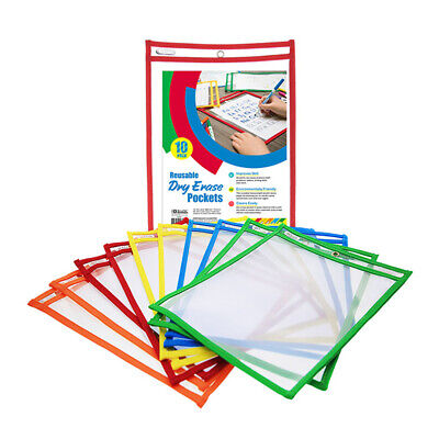 10 Pc Reusable Laminate Folder Dry Erase Pockets 9 X 12 Inches Assorted Colors