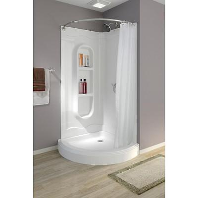Shut down Shower Curtain Corner Walk In Unit Kit Portable Rod One Piece Curved Foolish