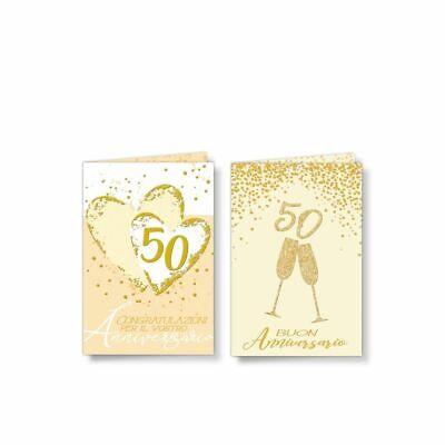 1Pz Tarjeta Auguri Aniversario 50 Años Bodas de Oro Decoro Purpurina 12ZX